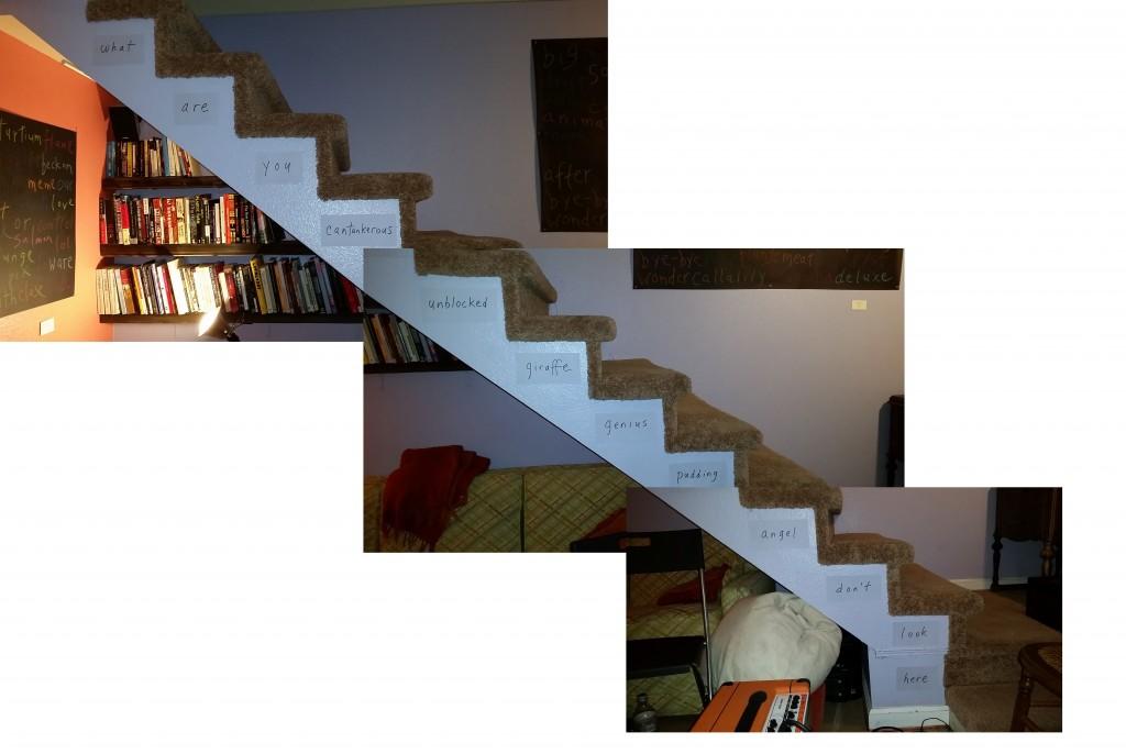"""cantankerous giraffe"" - stairs installation"