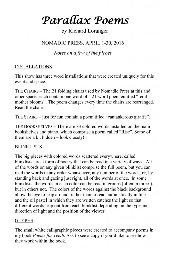 Parallax Poems - art documentation (Nomadic Press)