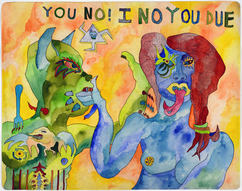 Tobias Brill - I No You Due - etching + watercolor - 2015